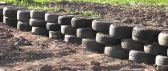 Фундамент из автомобильных шин для легких строений: как сделать своими руками